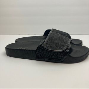 H2k women's black glitter slides